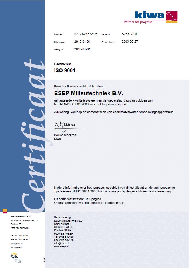 ESEP ISO 9001-2008 Certificaat Geldig tot 2018