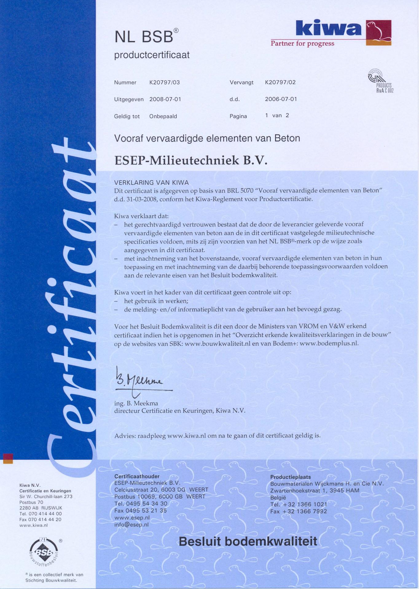 ESEP certificaat NL BSB Bouwstoffenbesluit
